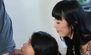 Asian sexy milf watches and teaches kindly how to suck big cock