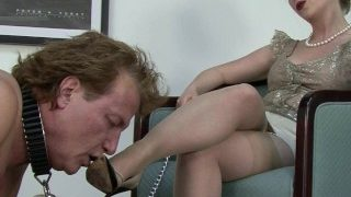 Sexy wife playing with her slave