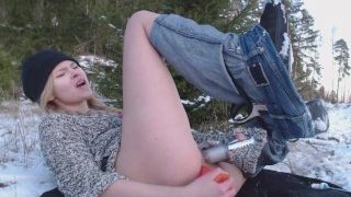 Adorable girl double penetrated herself with toys outdoor and freeze her ass of