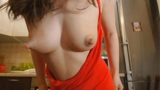 Cute young mom with lactating puffy nipples