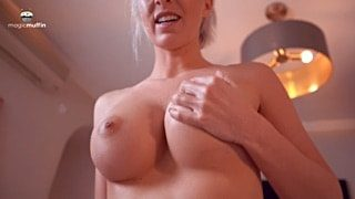 Tight body big tits MILF rides big white cock