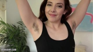 Hot Ember Stone with hairy armpit rubs her hairy muff for you