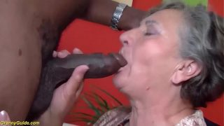 Busty 75 years old granny first time fucked by BBC